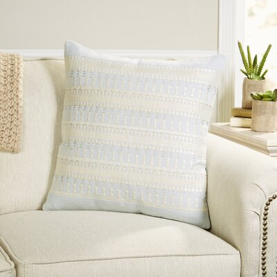 Gertie Pillow Cover Color: Light Blue/ Ivory