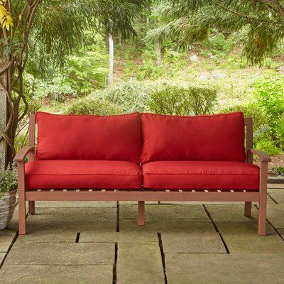 Rossi Sofa with Cushions Fabric: Red