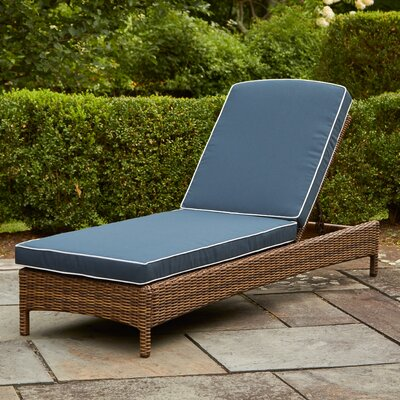 Lawson Chaise Lounge with Cushions Fabric: Navy