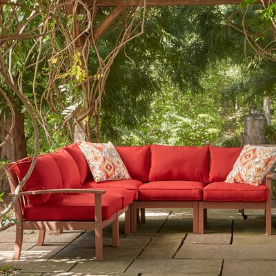 Rossi Sectional with Cushions Fabric: Red