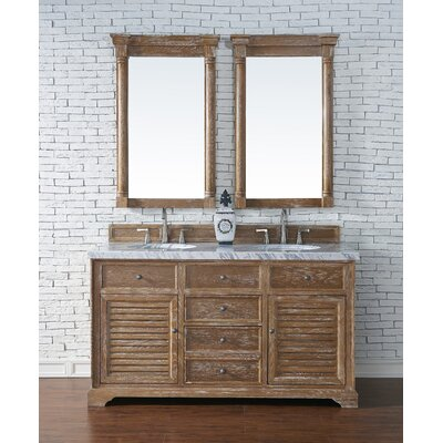 Belfield 60 Double Driftwood Bathroom Vanity Set Top Finish: Arctic Fall Solid Surface, Top Thickness: 3cm