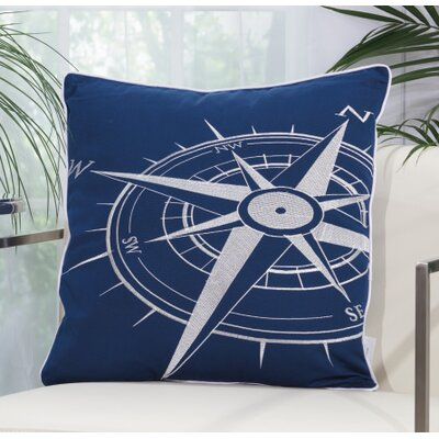 Corner Compass Outdoor Pillow Color: Navy / White