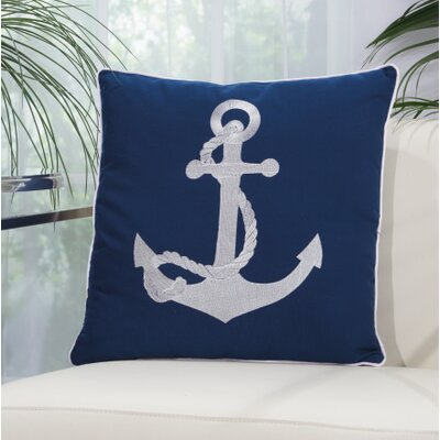 Drop Anchor Outdoor Pillow Color: Blue/White