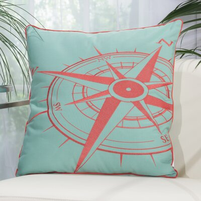 Corner Compass Outdoor Pillow Color: Aqua / Coral