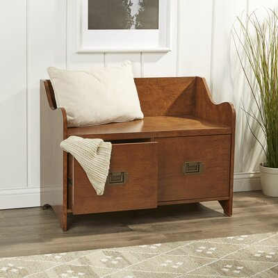 2 Drawer Wood Storage Entryway Bench