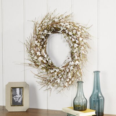 White Faux Forsythia Wreath