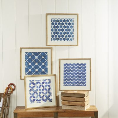 Framed Blue Geometric Prints