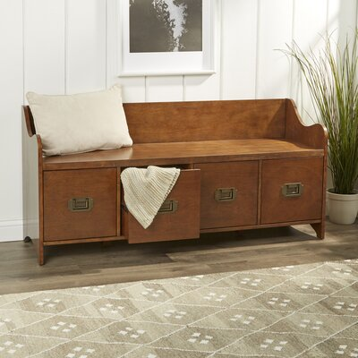 4 Drawer Wood Storage Entryway Bench