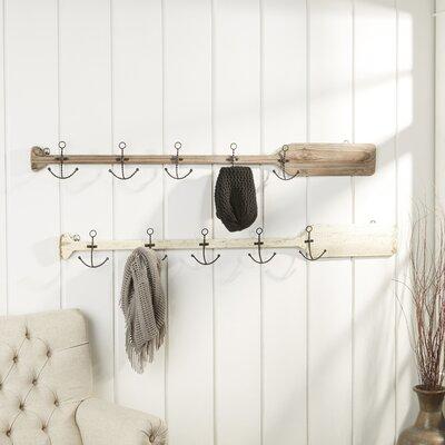 Metal and Wood Oar Coat Hooks