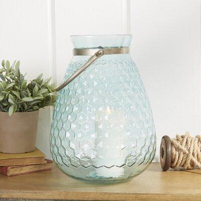 Misty Honeycomb Glass Lantern Size: Large
