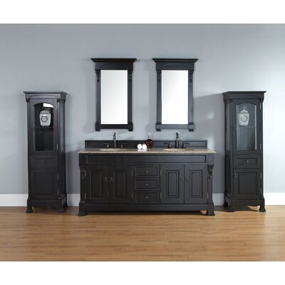 Stockbridge 72 Double Vanity Base Finish: Black, Top Finish: Rustic Black