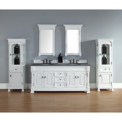 Stockbridge 72 Double Vanity Base Finish: White, Top Finish: Santa Cecilia