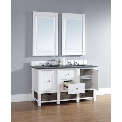 Westminster 60 Double Cottage White Bathroom Vanity Set Top Finish: Carrara White Marble, Top Thickness: 4cm