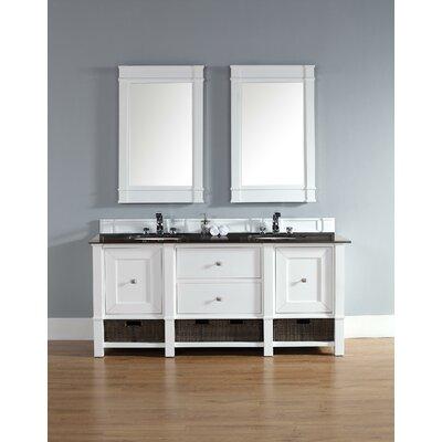 Bancroft 72 Double Vanity Set� Top Finish: Carrara White, Base Finish: White