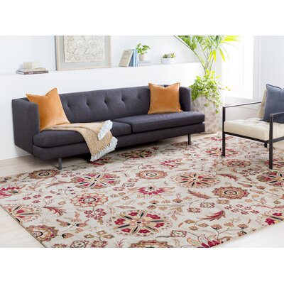 Jasmine Parchment & Red Rug Rug Size: Square 8