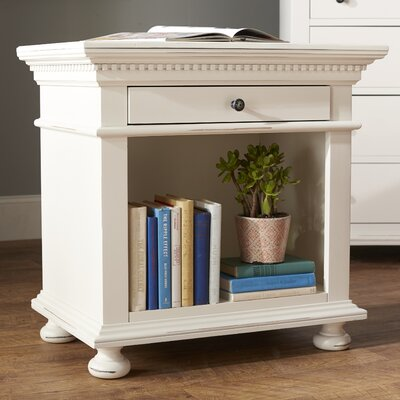 Dobson 1-Drawer Nightstand Color: White
