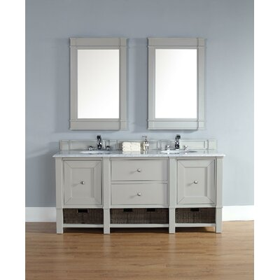 Bancroft 72 Double Vanity Set� Base Finish: Gray, Top Finish: Rustic Black