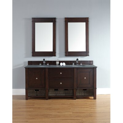Bancroft 72 Double Vanity Set� Top Finish: Carrara White, Base Finish: Mahogany