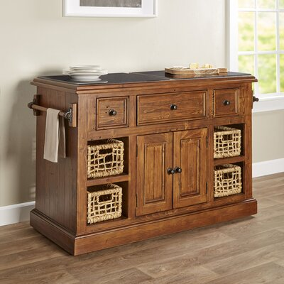 Zula Kitchen Island with Granite Top Base Finish: Oxford