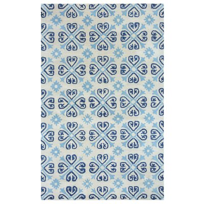 Amelia Natural & Blue Rug Rug Size: Rectangle 5 x 8