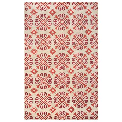 Amelia Natural & Red Rug Rug Size: Rectangle 5 x 8