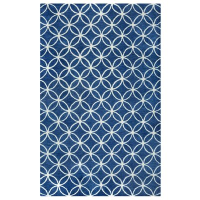 Kenzie Navy & Parchment Hand-Woven Wool Area Rug Rug Size: Rectangle 5 x 8