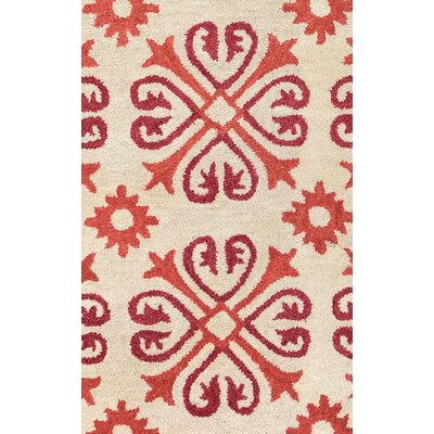 Amelia Natural & Red Rug Rug Size: Runner 26 x 8