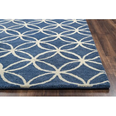 Kenzie Navy & Parchment Hand-Woven Wool Area Rug Rug Size: Rectangle 8 x 10