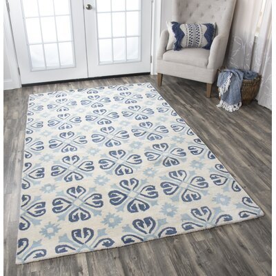 Amelia Natural & Blue Rug Rug Size: Rectangle 3 x 5