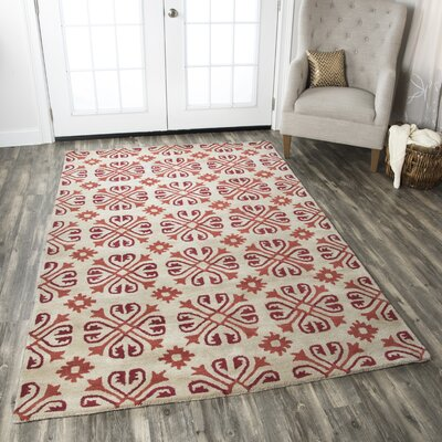 Amelia Natural & Red Rug Rug Size: 3 x 5