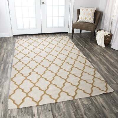 Kingsley Parchment & Gold Rug Rug Size: Rectangle 8 x 10