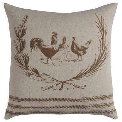 Hen Lithograph Cotton Pillow Cover Color: Brown