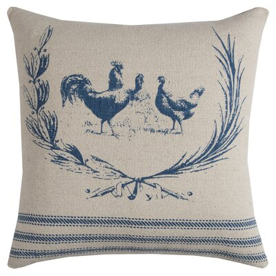 Hen Lithograph Cotton Pillow Cover Color: Blue