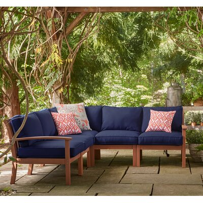 Rossi Sectional with Cushions Fabric: Navy