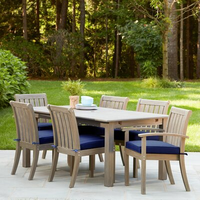 Rossi 7-Piece Dining Set with Cushions Fabric: Navy