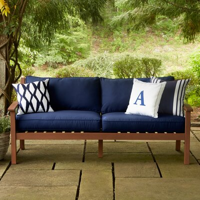 Rossi Middle Sofa Chair with Cushions Fabric: Navy