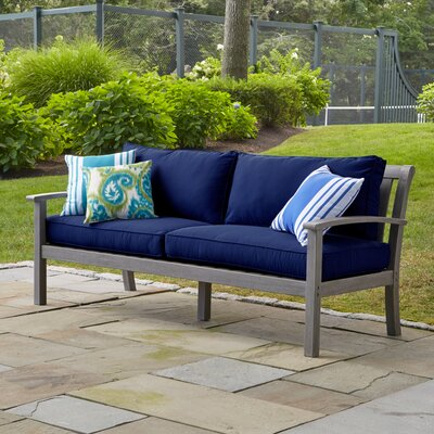 Rossi Sofa with Cushions Fabric: Navy
