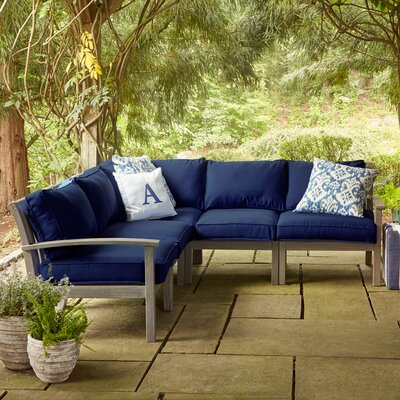 Birch Lane Rossi Sectional with Cushions Fabric: Navy