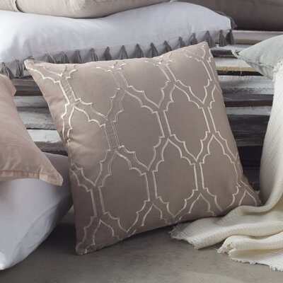 Lacey Linen Pillow Cover Size: 18 H x 18 W x 1 D, Color: Taupe