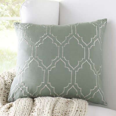 Lacey Linen Pillow Cover Size: 18 H x 18 W x 1 D, Color: Sage/Ivory