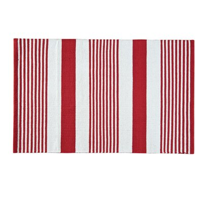 Red & White Area Rug Rug Size: 2 x 3