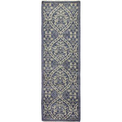 Artifact Hand-Knotted Azure Area Rug Rug Size: Runner 26 x 8