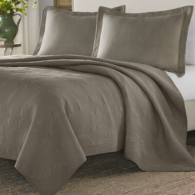Caitlin Reversible Quilt Set Size: Queen, Color: Taupe