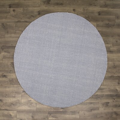 Ollie Hand-Woven Cotton Navy Area Rug Rug Size: Round 6
