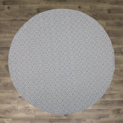 Kelvin Hand-Woven Cotton Sky Blue Area Rug Rug Size: Round 6