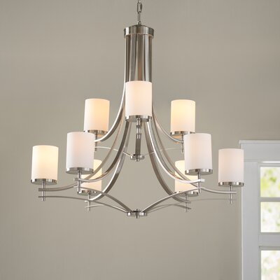 Foxall 9-Light Shaded Chandelier Finish: Satin Nickel