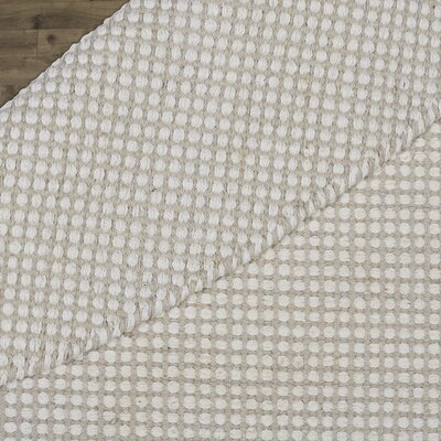 Ollie Hand-Woven Cotton Taupe Area Rug Rug Size: Round 6