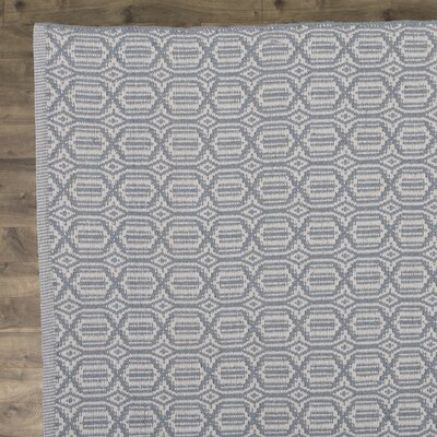 Kelvin Hand-Woven Cotton Sky Blue Area Rug Rug Size: Square 6
