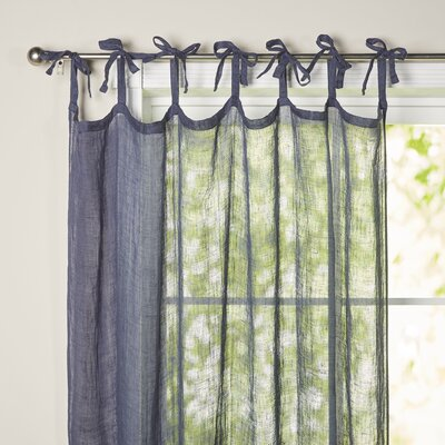 Haley Sheer Single Curtain Panel Color: Navy