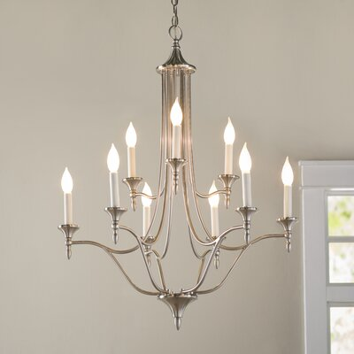 Rathborne 9-Light Candle-Style Chandelier Finish: Satin Nickel